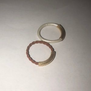Set of two leather stack rings costume jewelry